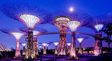 gardens by the bay comprises of 3 waterfront gardens bay south bay east and bay central spanning 101 hectaresthe conservatory complex at gardens by the